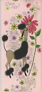 Vintage Tan Black French Parisian Poodle Flowers Chin Up Greeting Card Print