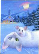 Aceo White Cat Mouse Winter Snow Church Angel Wings Full Moon Evergreens Print