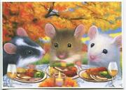 Aceo White Black Tan Mice Mouse Thanksgiving Dinner Wine Candles Autumn Print