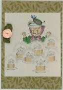 Vintage Old Woman Surprise Birthday Cake Candle Print On Antique Paper Aceo Size