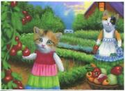 Aceo Calico Cats Grandmotherand039s Vegetable Garden Tomatoes Greens House Farm Print