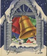 Vintage Christmas White Doves Red Green Gold Bell Tower Church Village Snow Card