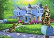 Aceo Bengal Cats Blue Painted Lady Victorian House Garden Old Car Mailbox Print