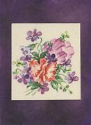 Vintage Violet Hibiscus Print Aceo Size Black Paper W/ Gold Dust Collage Picture