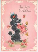 Vintage French Black Poodle Dog Flowers Butterfly Greeting Litho Card Art Print
