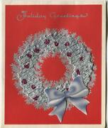 Vintage Christmas Silver Wreath Red White Pine Trees Art Nouveau Greeting Card