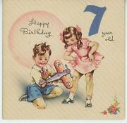 Vintage Child Boy Toy Airplane 7 Years Old Birthday Cake Pink Candles Card Print