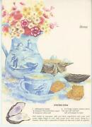 Vintage Sea Shells Blue Delft Tea Cup Oyster Stew Print 1 Sewing Seamstress Card