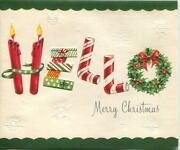 Vintage Christmas Candles Wreath Candy Canes Hello Mid Century Greeting Art Card