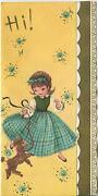 Vintage Golden Gold French Brown Poodle Dog Cute Girl Blue Daisies Card Print
