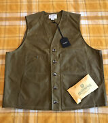 New Filson Oil Tin Cloth Vest Mens Size Xxl Made In Usa Work Hunting Fly Fishing