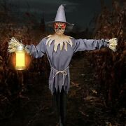 Lantern Jack Scarecrow Animated Motion Activated Halloween Prop Lights Sounds 8'