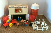 Vintage Fisher Price Fp Little People Play Family Farm Barn Animals Complete