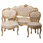 Antique French Louis Xv Style Three-piece Giltwood Upholstered Parlor Set C1890