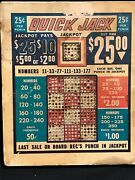 Vintage Jackpot 25andcent Quick Jack Punch Board 9x10 Gambling Device Wall Art