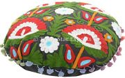 Suzani Embroidered Floor Cushion Cover Round Vintage Bohemian 16 Pillow Case