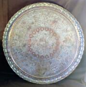 Vintage Metal Copper Middle Eastern Tray Plate Serving Table Wood Base Inlaid