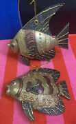 """Lot Of 2 Large Sparkly Paper Mache Angel Fish Hanging Decor 7"""" X 7"""""""