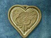 """Vtg Hartstone Cookie Mold Stoneware Pottery Heart Lace Flower Signed 5"""""""