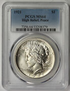 1921 High Relief Peace Dollar Silver 1 Ms 64 Pcgs