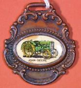 Antique John Deere Plow Company Embossed Brass And Celluloid Watch Fob X3