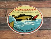 Vintage Winchester Porcelain Fishing Tackle Rods And Reels Lure Service Sales Sign