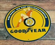 Vintage Goodyear Porcelain Gas Oil Wide Boots Gas Service Station Auto Tire Sign
