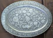 Old Hand Engraved Metal Copper Embossed Middle Eastern Serving Tray Birds Art