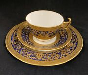 """Cauldon Set Of Tea Cup And Saucer And 8"""" Serving Plate Heavily Raised Gilding."""