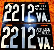 Pair Virginia Antique Vehicle License Plate Porcelain Old First Style Excellent
