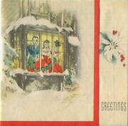 Vintage Christmas Victorian Bay Window Man Woman Snow House Old Greeting Card