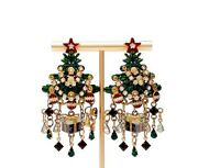 Vintage Lunch At The Ritz Christmas Tree Enameled Rhinestone Statement Earrings