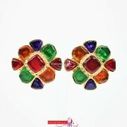 94p 1994 Vintage Flower Gripoix Glass Clip On Earrings 24k Gold Plated