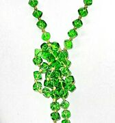 Antique Art Deco Green Cube Glass Bead Hand-knotted Flapper Length Necklace-56