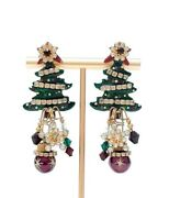 Vintage Lunch At The Ritz Christmas Tree Earrings Statement -- Free Ship