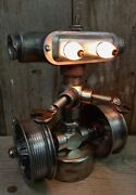 Repurposed Robot Table Lamp-pipe Fittings- Metal Salvage-industrial- Handcrafted