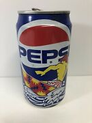 Empty 1990s Retro Vintage Aluminum Pepsi Cool Cans Blue Can Surfer Waves Summer