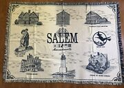Salem Massachusetts Witch House Lighthouse Cotton Afghan Throw Blanket Nos Rare