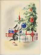 Vintage 1930and039s Christmas Tree Tabby Cat Playing With Ornaments Card Art Print