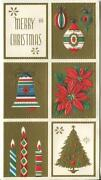 Vintage Christmas Vignettes Bell Candles Tree Ornaments Poinsettia Greeting Card
