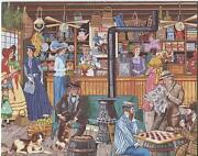 Vintage Country Store Checker Game Barnum Bailey Art Print 1 Christmas Toy Card