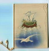 Antique Christmas Sail Boat Four Leaf Clover Sea Seagull Embossed Greeting Card