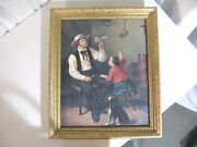 Antique Frame W/child And Man Making Toys In Work Shop