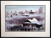 Doug Lew Snowy Dawn Original Watercolor Painting Winter Art Submit An Offer