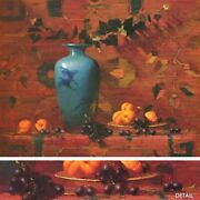 36wx28h Ming Vase With Apricots By Robert Johnson Asian Peaches Grapes Canvas