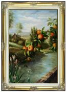 Framed Quality Hand Painted Oil Painting Apple Tree And Lilies 24x36in