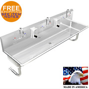 Multistation 3 Wash Up Sink 5' Hand Sink Manual Faucets Made In Usa