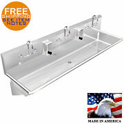 Multistation 3 Users Wash Up Hand Sink 60 Wall Mount Made In Usa Stainless Stl.