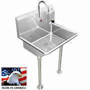 Hand Sink Sensor Action Faucet 24 Single Hands Free Stainless Steel Heavy Duty