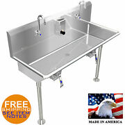 Multi-station Wash Up Hand Sink 48 With Knee Valves Hands Free Stainless Steel